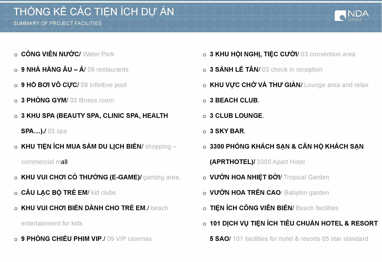 Thống kê các tiện ích tại dự án Sunbay Park Phan Rang Ninh Thuận