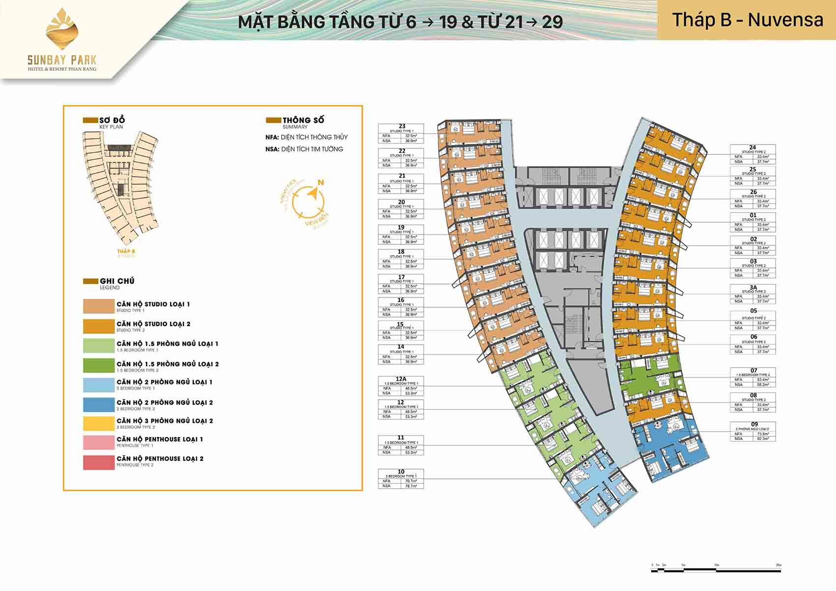 Mặt bằng thiết kế tòa B Nuvensa tầng từ 6-19 21-28 dự án Sunbay Park Phan Rang Ninh Thuận