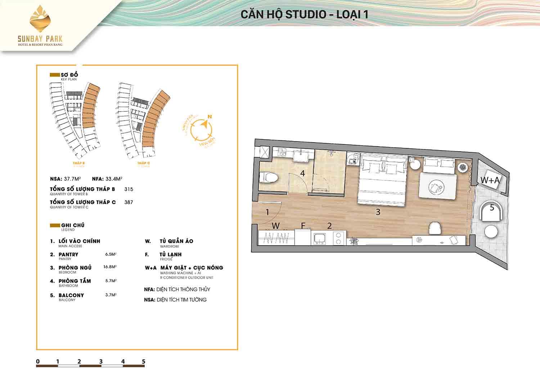 Thiết kế căn hộ Studio loại 1 37,7m2 dự án Sunbay Park Phan Rang Ninh Thuận