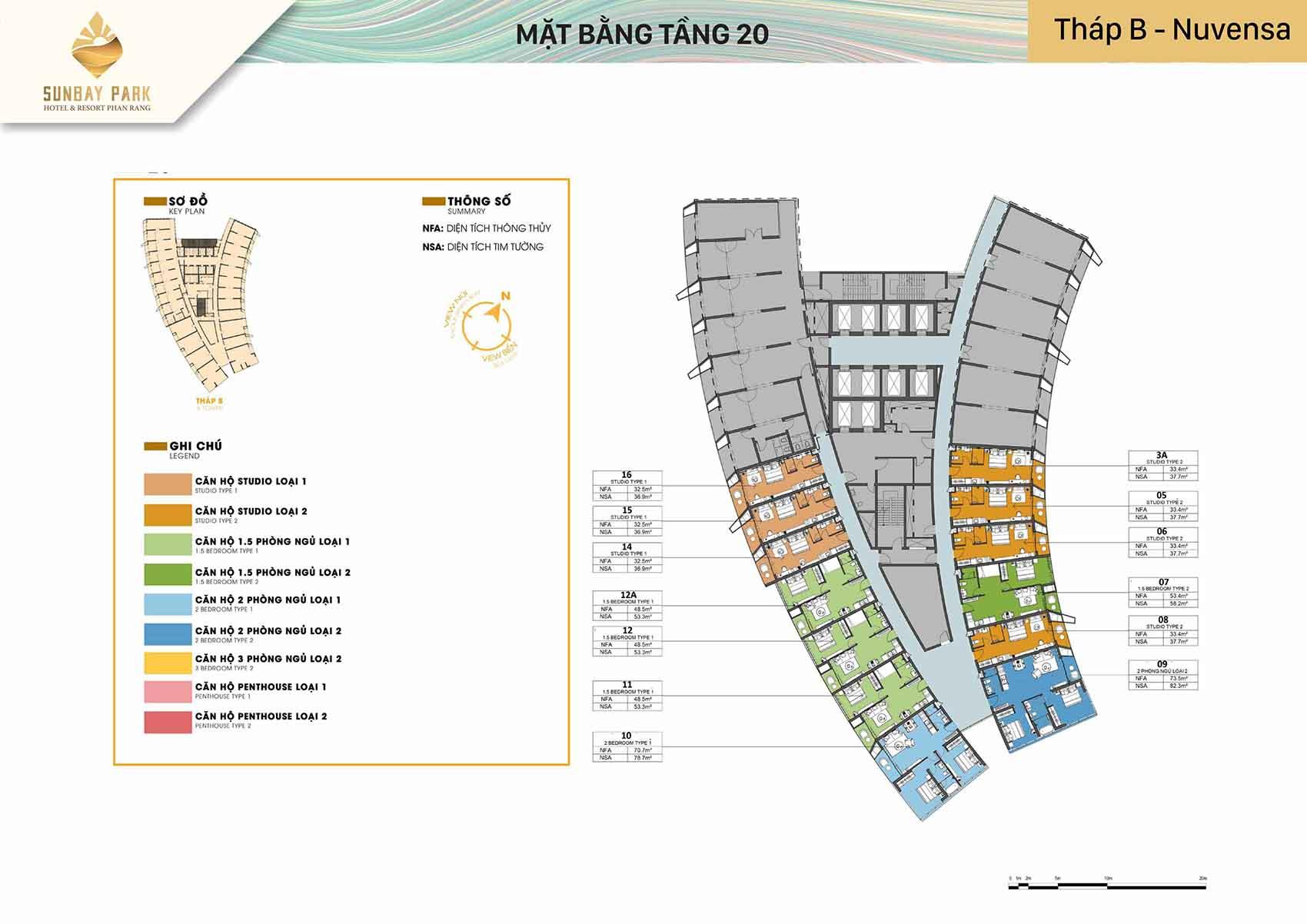 Mặt bằng thiết kế tòa B Nuvensa tầng 20 dự án Sunbay Park Phan Rang Ninh Thuận