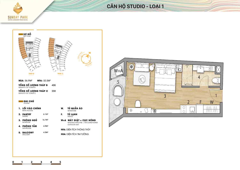 Thiết kế căn hộ Studio loại 36,9m2 dự án Sunbay Park Phan Rang Ninh Thuận
