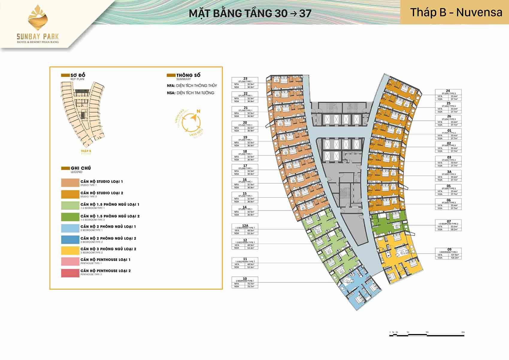 Mặt bằng thiết kế tòa B Nuvensa tầng 30-37 dự án Sunbay Park Phan Rang Ninh Thuận