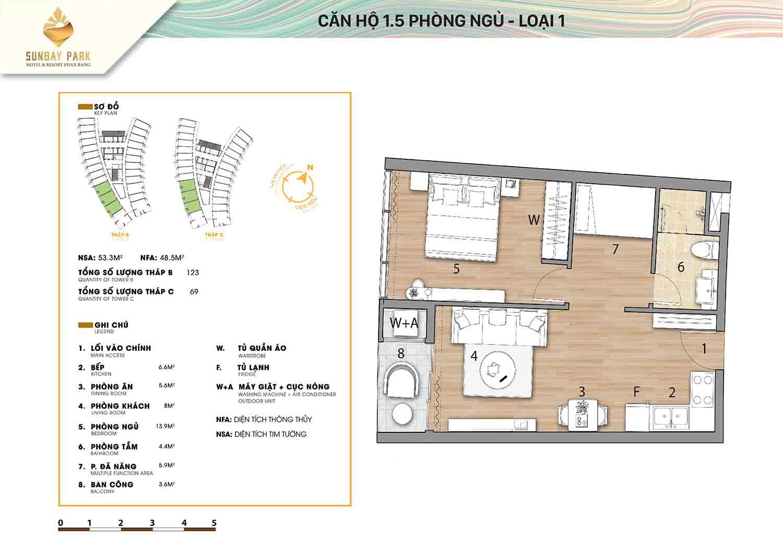 Thiết kế căn hộ 1,5 phòng ngủ 53m2 dự án Sunbay Park Phan Rang Ninh Thuận