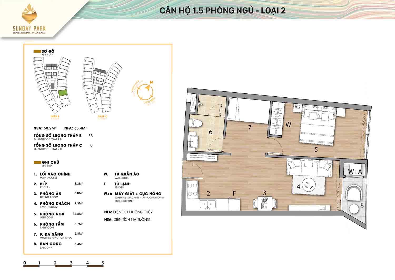 Thiết kế căn hộ 1,5 phòng ngủ 58m2 dự án Sunbay Park Phan Rang Ninh Thuận
