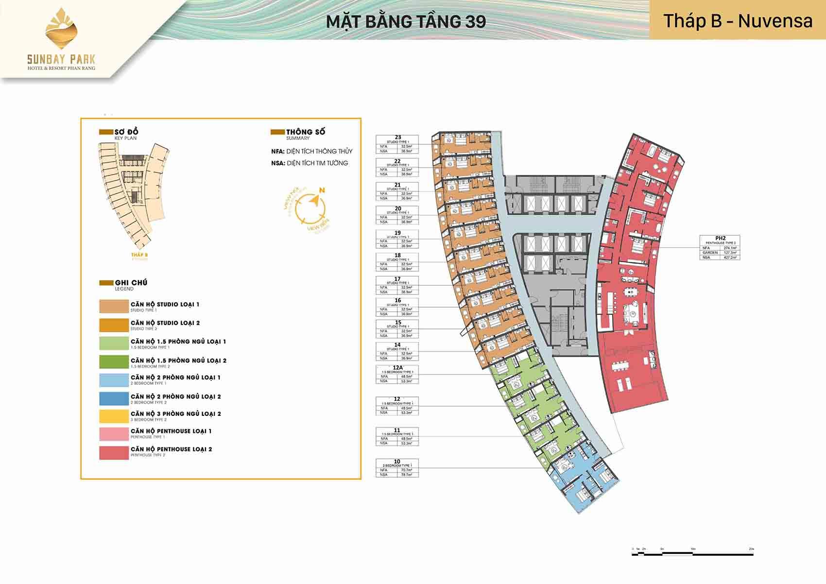 Mặt bằng thiết kế tòa B Nuvensa tầng 39 dự án Sunbay Park Phan Rang Ninh Thuận