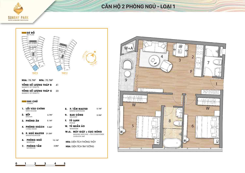 Thiết kế căn hộ 2 phòng ngủ loại 1 78,2m2 dự án Sunbay Park Phan Rang Ninh Thuận