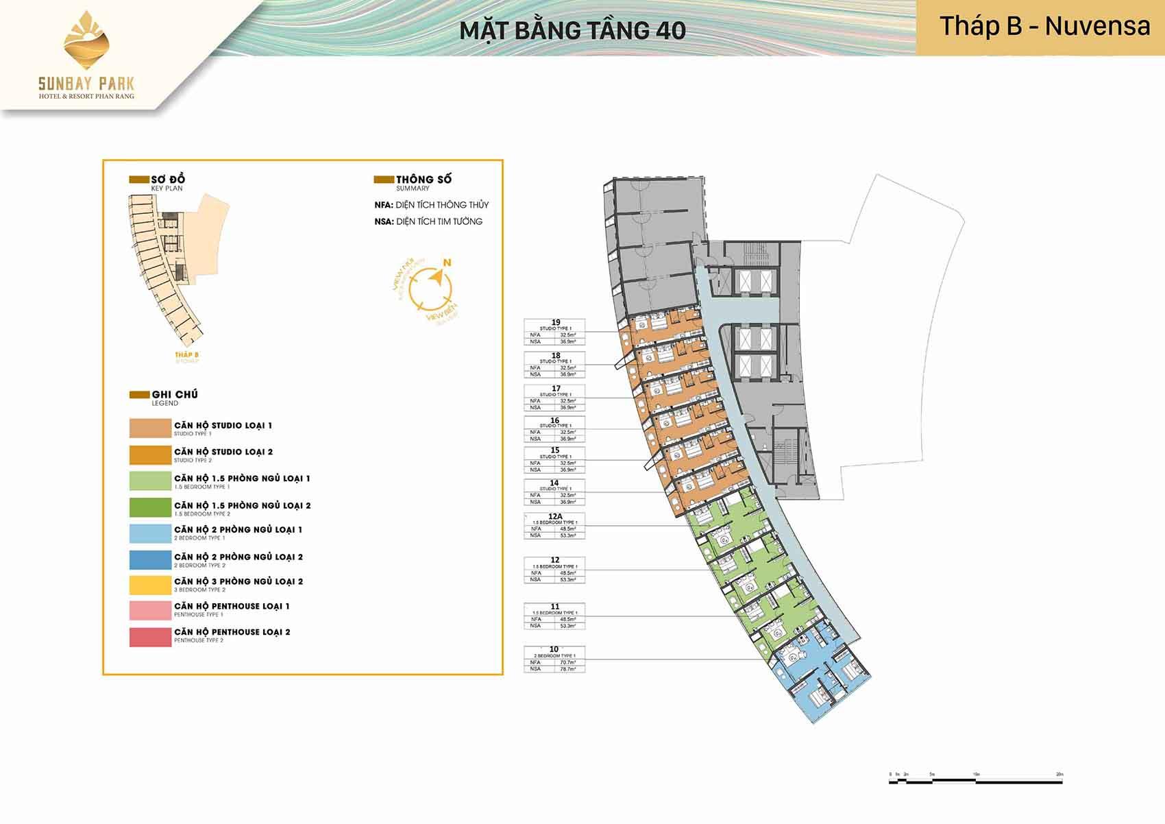 Mặt bằng thiết kế tòa B Nuvensa tầng 40 dự án Sunbay Park Phan Rang Ninh Thuận