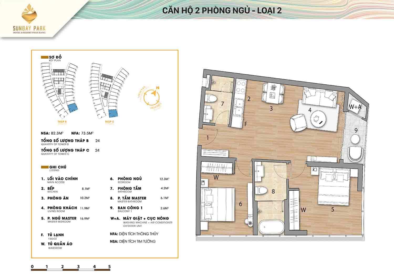 Thiết kế căn hộ 2 phòng ngủ loại 2 82,3m2 dự án Sunbay Park Phan Rang Ninh Thuận
