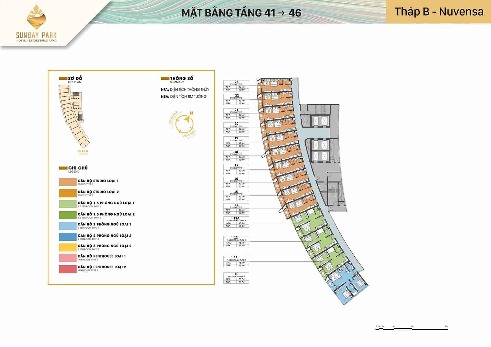 Mặt bằng thiết kế tòa B Nuvensa tầng từ 41-46 dự án Sunbay Park Phan Rang Ninh Thuận