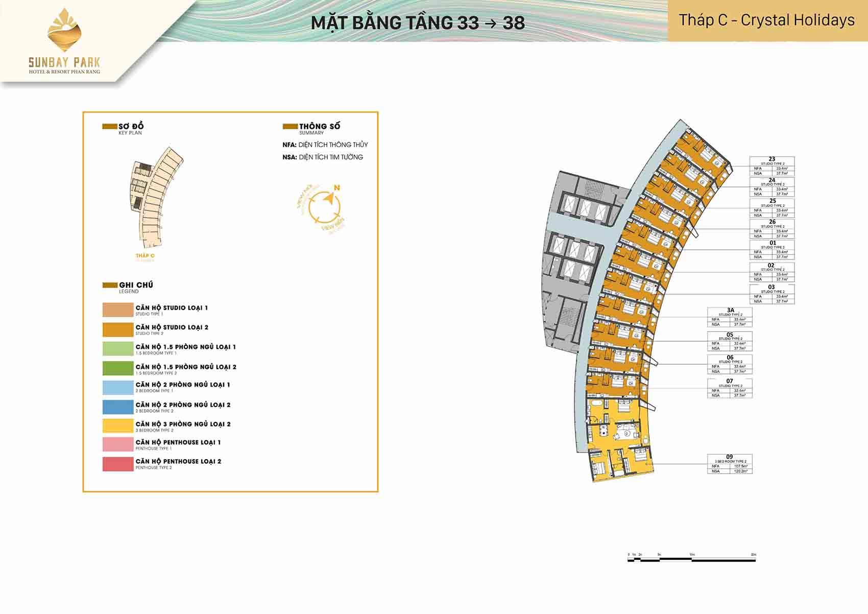 Mặt bằng thiết kế tòa C Crystal Holidays tầng từ 33-38 dự án Sunbay Park Phan Rang Ninh Thuận
