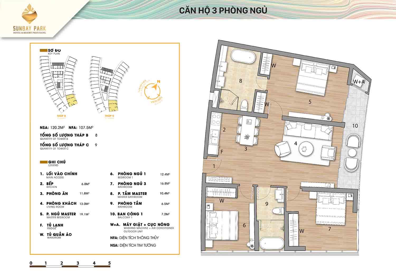 Thiết kế căn hộ 3 phòng ngủ 120,3m2 dự án Sunbay Park Phan Rang Ninh Thuận