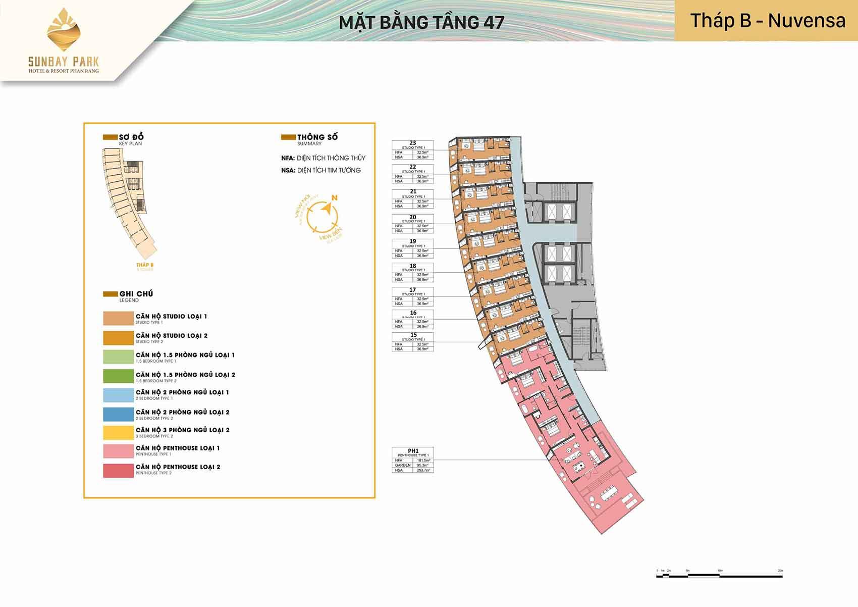 Mặt bằng thiết kế tòa B Nuvensa tầng 47 dự án Sunbay Park Phan Rang Ninh Thuận