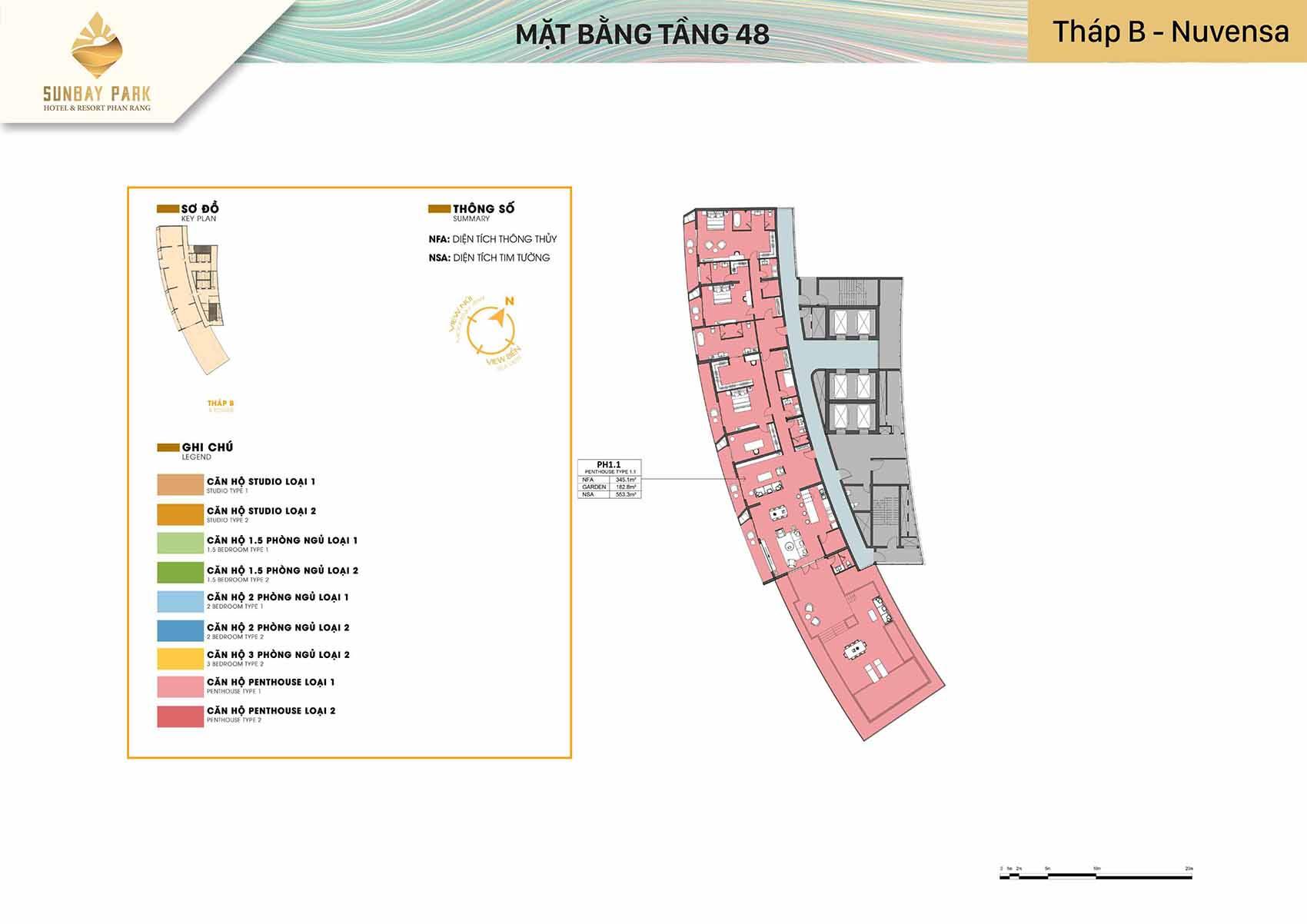 Mặt bằng thiết kế tòa B Nuvensa tầng 48 dự án Sunbay Park Phan Rang Ninh Thuận