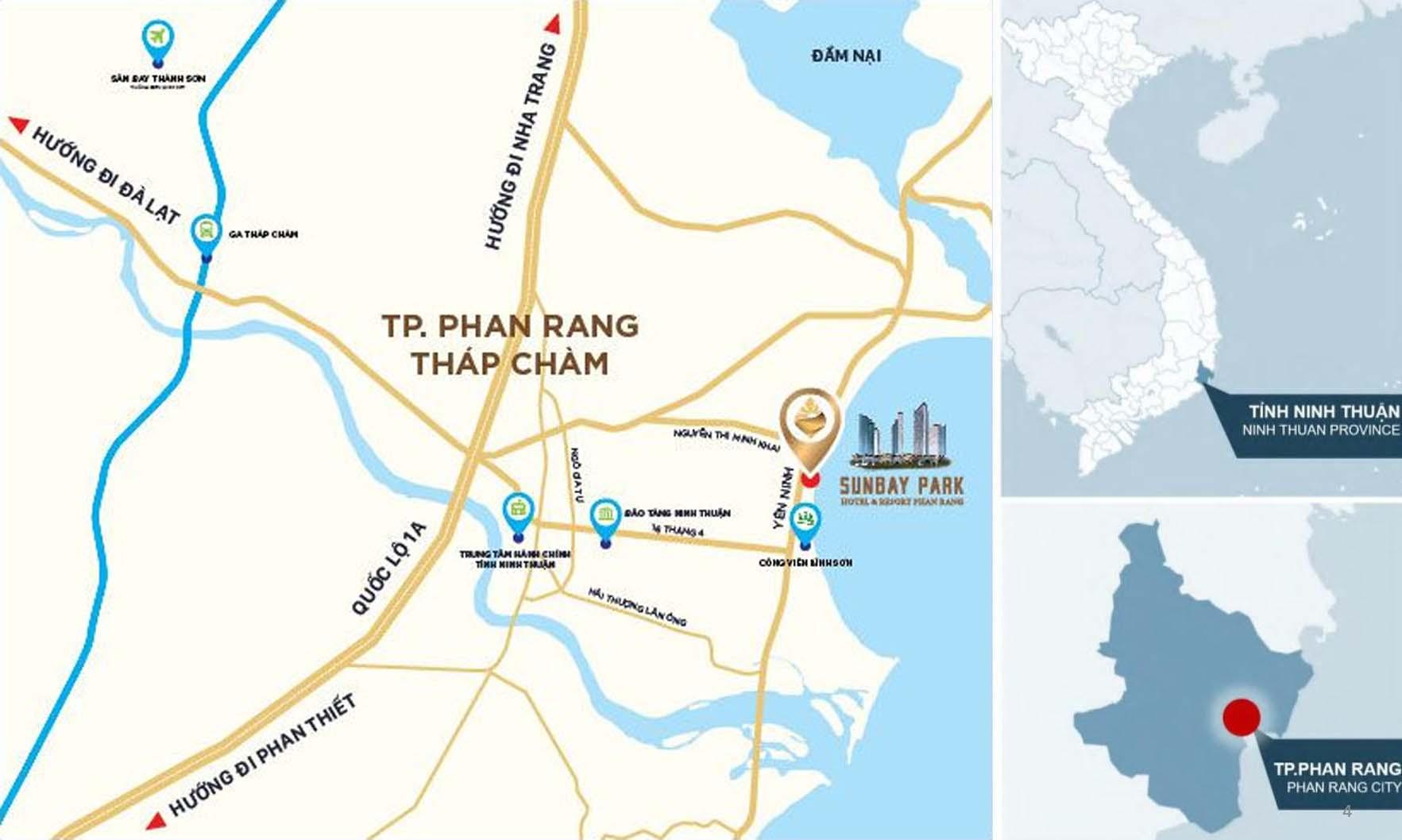 Vị trí chính xác dự án Sunbay Park Phan Rang Ninh Thuận