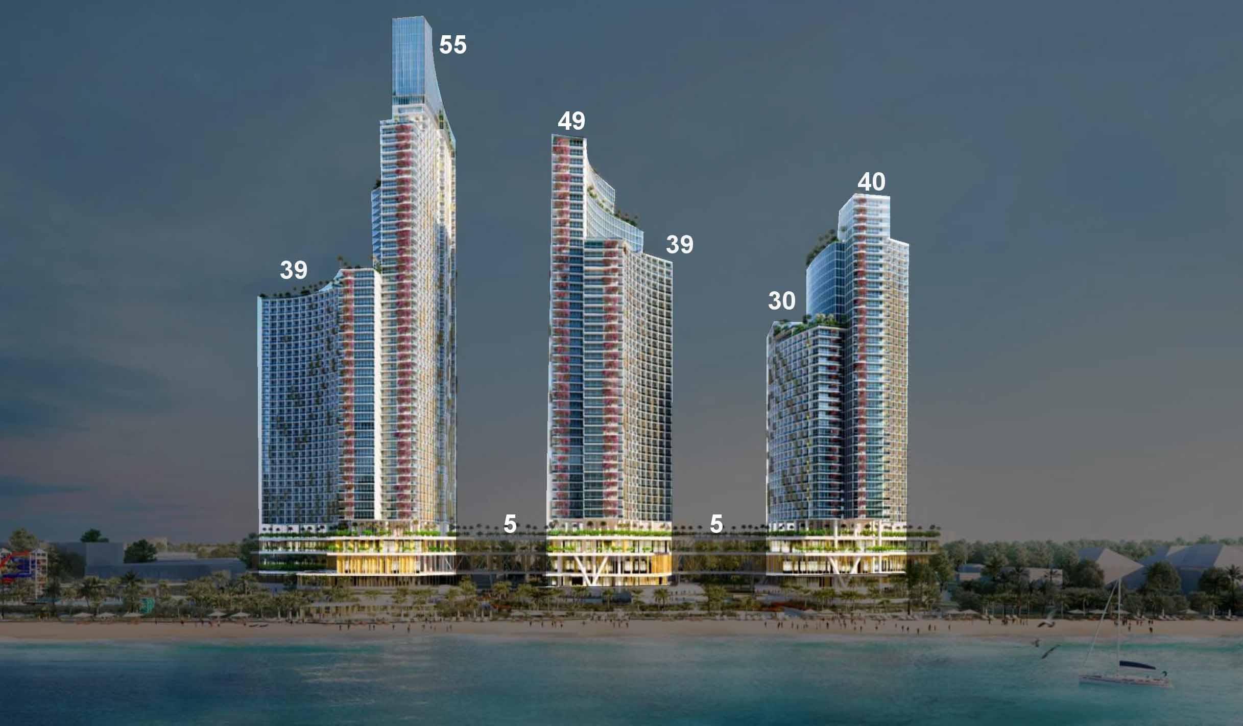 Mặt đứng chiều cao tầng dự án Sunbay Park Phan Rang Ninh Thuận